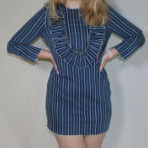 NWT Zara Striped Denim Ruffle Long Sleeve Dress